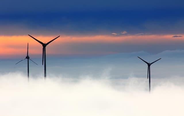 foggy wind turbines