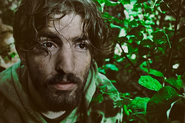 Wild man surviving in the woods