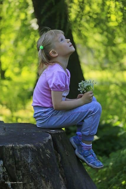Kid observing nature