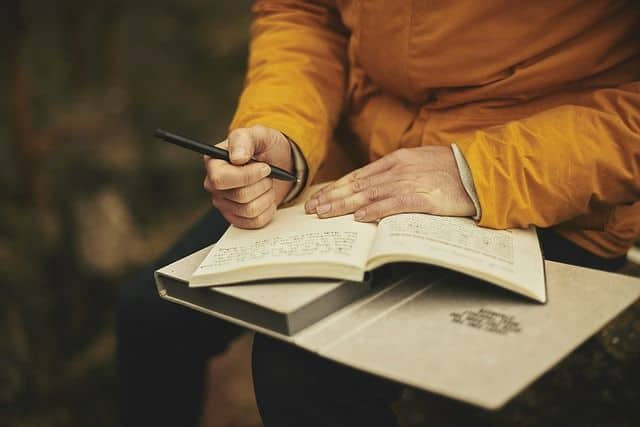 Nature journaling outside